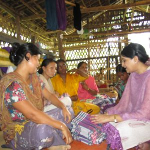 Discussing with Indegenous women entrepreneurs of Rangamati about their product's design and quality