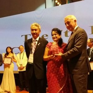 Receiving CACCI award as the President of BWCCI