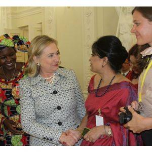 Selima Ahmad with Hilary Clinton